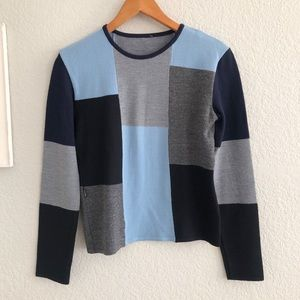 Moschino Blue Black Color Block Wool Blend Sweater